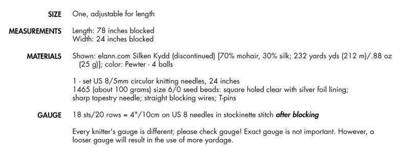 Liquid Silver shawl specs
